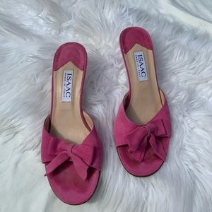 Isaac Pink Leather Suede Bow Open Toe Mules!